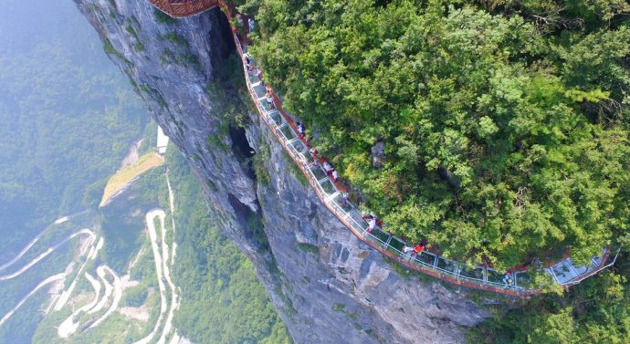 China Terrifying Glass sky Walkway open on Tianmen Mountain
