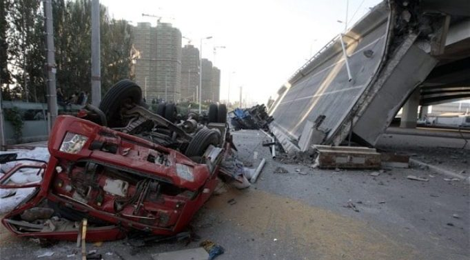 In China bridge collapse Five injured