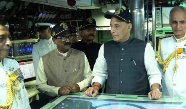 Rajnath warns PAK from INS Vikramaditya