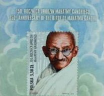 Poland issues commemorative postage stamp on 150th birth anniversary of Mahatma Gandhi