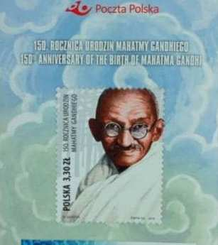 Poland issues commemorative postage stamp on 150th birth anniversary of Mahatma Gandhi